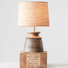 Wood Table Lamp With Jute Shade