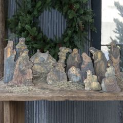 Wood Tabletop Nativity 12 Pieces