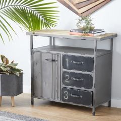 Wood Top Industrial Utility Cabinet