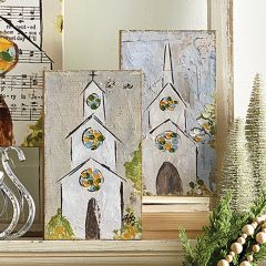 Wood Wall Decor With Painted Church Set of 2