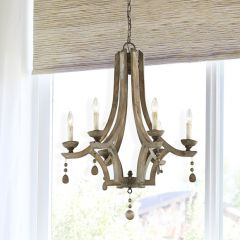 Wood With Metal Chandelier
