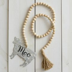 Wooden Beads With Cow and Tassel Set of 2