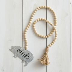 Wooden Beads With Pig and Tassel Set of 2