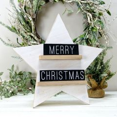 Wooden MERRY CHRISTMAS Tabletop Star
