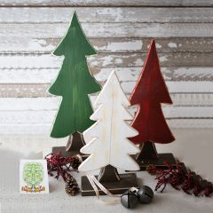 Wooden Tabletop Christmas Tree Set of 3
