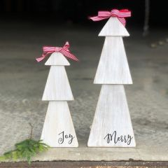 Wooden Tabletop Tree Merry and Joy Set of 2