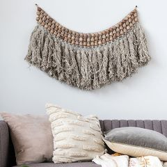 Wool And Wood Bead Fringed Wall Hanging