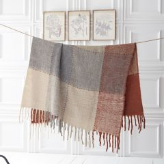 Woven Plaid Fringed Throw Blanket
