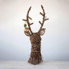Woven Rattan Deer Head Tabletop Decor