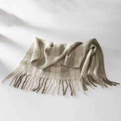 Woven Stripes Cozy Fringed Throw Blanket