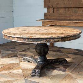 Rustic Round Pedestal Dining Table | SHIPS FREE